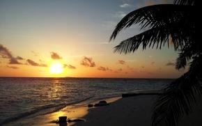 Picture beach, sunset, Sunset, Maldives
