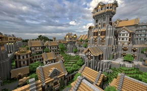 Picture roof, the sky, clouds, the city, house, tree, street, the building, blocks, window, Minecraft