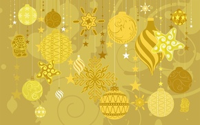 Picture winter, decoration, yellow, toys, tree, new year, bell, holidays