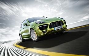 Picture road, speed, jeep, green, Porsche Cayenne