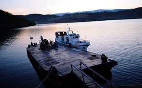 Picture sunset, Lake, pier, Baikal, boat
