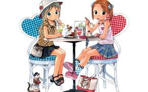 Picture girls, anime, art, cafe, cake, Strawberry marshmallow, Ichigo Mashimaro