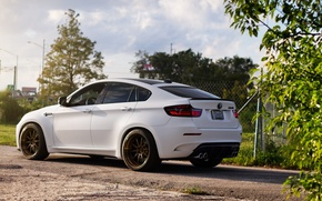 Picture road, white, bmw, BMW, the fence, white, rear view, x6m, e71