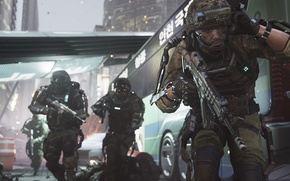 Picture soldiers, fight, Call Of Duty, battle, weapons, America, Advanced Warfare