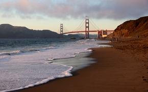 Wallpaper CA, San Francisco, Golden Gate Bridge, beach, California, San Francisco, usa