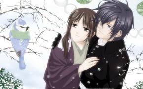 Wallpaper snow, winter, chizuru yukimura, Saito Hajime, hakuouki shinsengumi kitano, guy, pair, tree, girl, bird