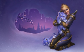 Picture girl, snow, flowers, tiger, tree, branch, icicles, fantasy, art, fangs, the cubs, world of warcraft