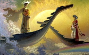 Picture the sun, clouds, flowers, girls, rainbow, picture, boats, crown, painting, heavenly berth, Olshansky