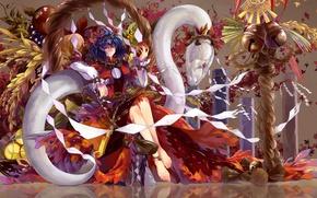 Picture girl, apple, Apple, girl, touhou, yasaka kanako, white snake