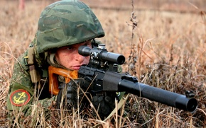Picture army, soldiers, rifle, sniper, Vintorez