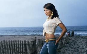 Picture sea, model, the fence, jeans, Sophia Bush