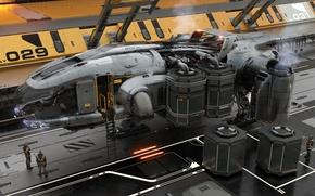 Wallpaper station, starship, Star Citizen, service, Misc Prospector