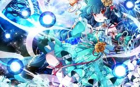 Picture the sky, girl, clouds, butterfly, flowers, tree, ball, anime, art, beads, touhou, scepter, fumiko, kaku …