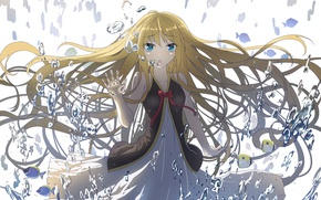 Picture water, girl, drops, hair, anime, art