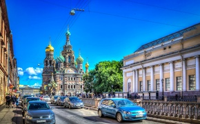 Picture road, HDR, Saint Petersburg, Russia, cars, St. Petersburg, Church of the Savior on Blood