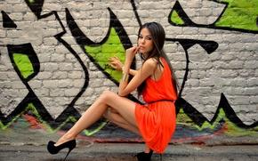 Picture look, girl, pose, street, model, figure, dress, brunette, shoes, heels, bracelet, legs, designer, Tatiana Begletsova