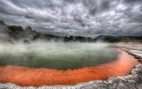 Wallpaper volcano, clouds, Hot, couples, source, fog, trees, lake, lava