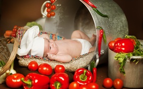 Picture greens, children, food, pan, pepper, vegetables, tomatoes, child, Anna Levankova, scullion