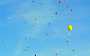 Picture the sky, clouds, holiday, paint, a balloon