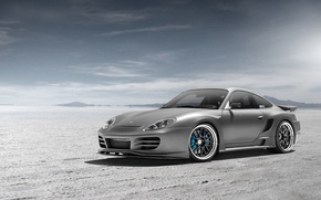 Wallpaper desert, Porsche, silver, Porsche, Blik, front, silvery, 991, Widebody, 996, Top Secret, aerodynamic kit, SSR