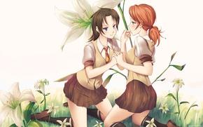 Picture flowers, smile, girls, Schoolgirls, oerba yun fang, oerba is vanille, final fantasy, art, embarrassment, doomfest