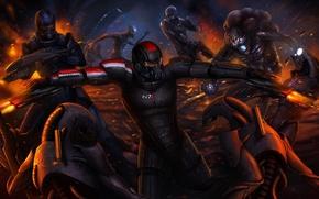 Picture robot, art, captain, battle, mass effect 3, the reapers, Shepard