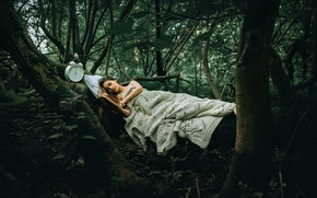 Wallpaper Another Story, girl, watch, forest, book, Rosie Hardy
