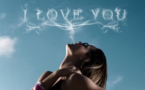 Picture girl, love, sky, smoke, glasses, situation