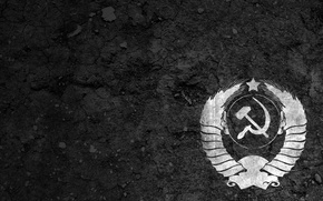 Wallpaper USSR, coat of arms, background, the hammer and sickle