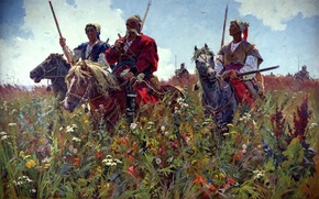 Wallpaper painting, Cossacks, Taras Bulba, the past, BUBNOV Alexander