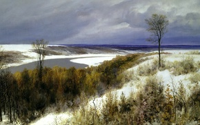 Picture the sky, clouds, river, mood, picture, late autumn, Polenov, early snow