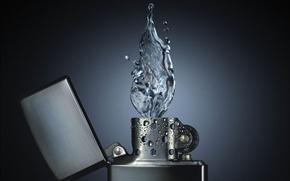 Wallpaper Water fire, lighter, drops
