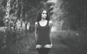 Picture Girl, blurred background, Xenia Kokoreva, Black and white photo