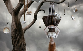 Picture girl, fantasy, tree, surrealism, tea, burton, Tea tree