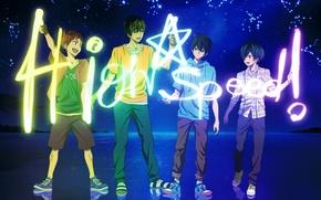 Picture the sky, water, stars, joy, nature, reflection, anime, art, constellation, guys, free!, nanase haruka, tachibana …