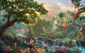 Wallpaper flowers, tiger, palm trees, the film, village, Panther, jungle, houses, monkey, waterfalls, painting, Walt Disney, ...