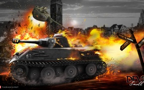 Picture WoT, Wargaming.Net, the explosion, World of Tanks, tanks, VK2801, tank, T-50-2, Himmelsdorf, fire