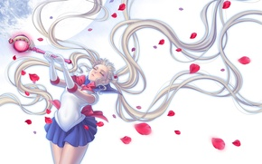 Picture girl, the moon, petals, form, rod, sailor moon, Bishoujo senshi sailor moon, Tsukino Usagi