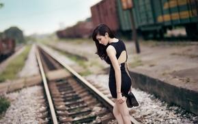 Picture girl, railroad, Asian
