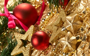Picture branches, balls, stars, tree, gold plated, Christmas decorations