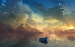 Picture the sky, fiction, boat, planet