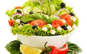 Picture greens, vegetables, vegetable salad