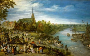 Wallpaper landscape, picture, Jan Brueghel the elder, The Village Fair