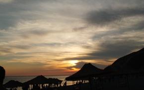 Picture sea, clouds, sunset, Mountains, Sukko