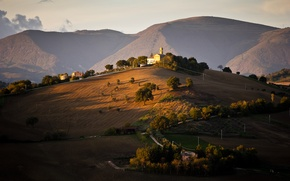 Picture trees, hills, field, home, Italy