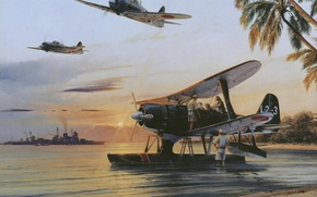 Picture the sky, water, the sun, palm trees, shore, ship, art, aircraft, Navy, seaplane, WW2, Japanese