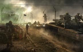 Picture war, soldiers, tanks, stalkers, Survarium, The survival zone
