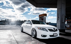Picture dressing, white, white, toyota, Toyota, camry, Camry, stance