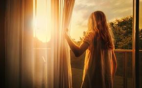 Picture light, treatment, window, girl, First light