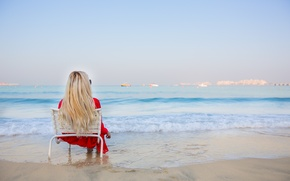 Picture sea, summer, girl, stay, relax, hair, dress, blonde, legs